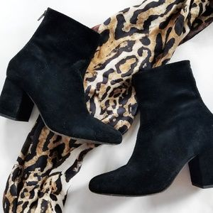 Free People Cecile Black Suede Ankle Boots, 38